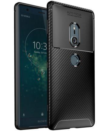 Sony Xperia XZ2 Siliconen Carbon Hoesje Zwart Hoesjes
