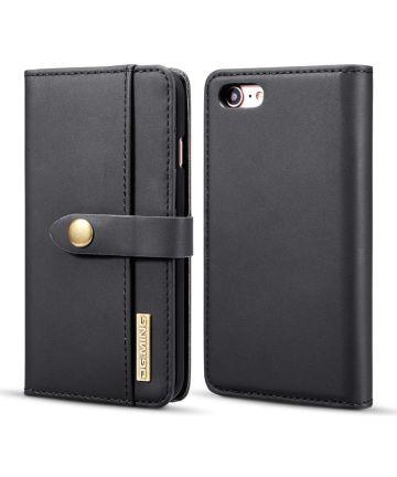 Apple iPhone 7/8 Echt Leren 2-in-1 Bookcase en Back Cover Hoesje Zwart