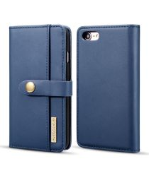 Apple iPhone 7/8 Echt Leren 2-in-1 Bookcase en Back Cover Hoesje Blauw