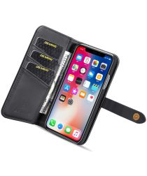 Apple iPhone XS Echt Leren 2-in-1 Bookcase en Back Cover Hoesje Zwart