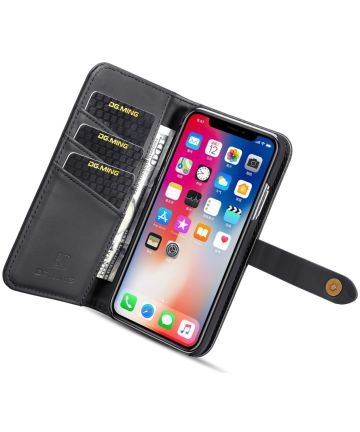 Apple iPhone XS Echt Leren 2-in-1 Bookcase en Back Cover Hoesje Zwart Hoesjes