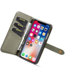 Apple iPhone XS Echt Leren 2-in-1 Bookcase en Back Cover Hoesje Groen