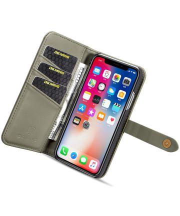 Apple iPhone XS Echt Leren 2-in-1 Bookcase en Back Cover Hoesje Groen Hoesjes