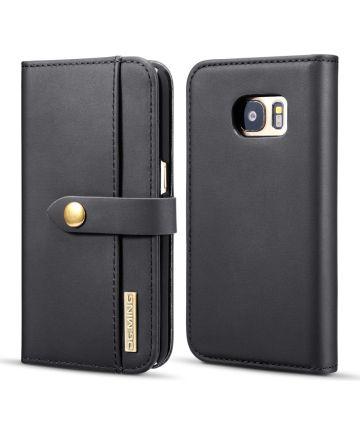 Samsung Galaxy S7 Leren 2-in-1 Bookcase en Back Cover Hoesje Zwart Hoesjes