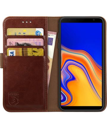 Rosso Element Samsung Galaxy J4 Plus Hoesje Book Cover Bruin Hoesjes