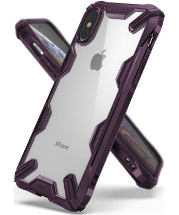 Ringke Fusion X Apple iPhone XS Hoesje Doorzichtig Paars Hoesjes