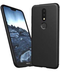 Nokia 6.1 Plus Twill Slim Texture Back Cover Zwart