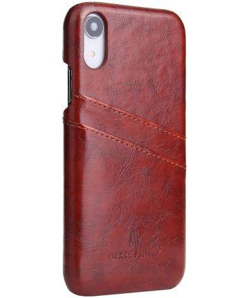 Apple iPhone XR Back Cover met Lederen Coating Bruin Hoesjes