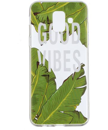 Samsung Galaxy A6 2018 Clear TPU Backcover Hoesje Good Vibes Print Hoesjes