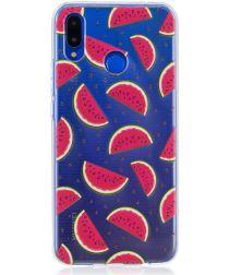 Huawei P Smart Plus Transparant TPU Backcover Hoesje Watermeloen Print