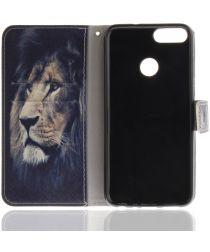 Huawei P Smart Portemonnee Print Hoesje Leeuw