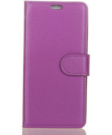 Alcatel 1 Lederen Wallet Stand Hoesje Paars