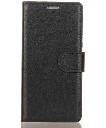 Alcatel 1 Lederen Wallet Stand Hoesje Zwart