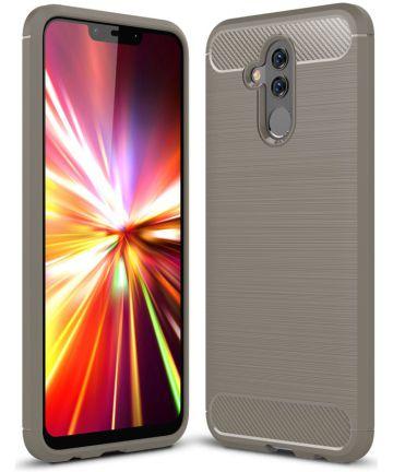 Huawei Mate 20 Lite Geborsteld TPU Hoesje Grijs Hoesjes