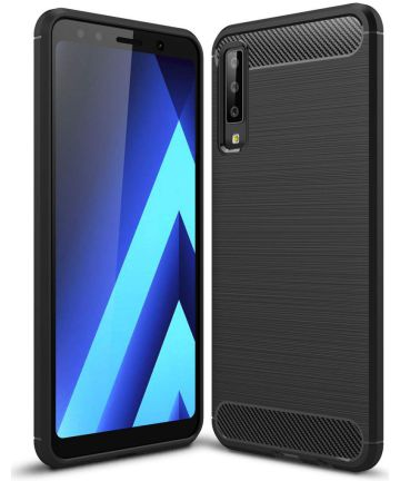 Samsung Galaxy A7 2018 Geborsteld TPU Hoesje Zwart