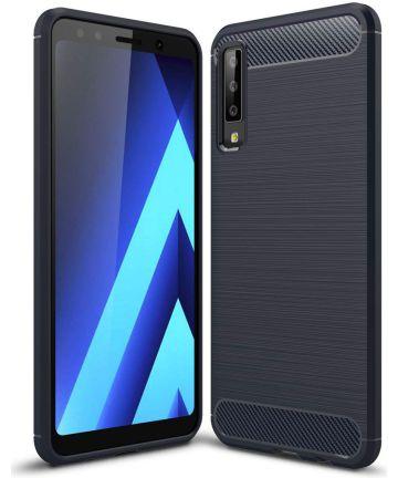 Samsung Galaxy A7 2018 Geborsteld TPU Hoesje Blauw Hoesjes
