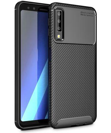 Samsung Galaxy A7 2018 Siliconen Carbon Hoesje Zwart Hoesjes