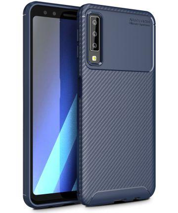 Samsung Galaxy A7 2018 Siliconen Carbon Hoesje Blauw Hoesjes