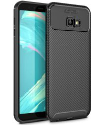 Samsung Galaxy J4 Plus Siliconen Carbon Hoesje Zwart