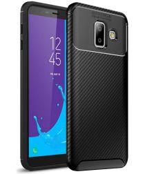 Samsung Galaxy J6 Plus Siliconen Carbon Hoesje Zwart