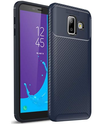 Samsung Galaxy J6 Plus Siliconen Carbon Hoesje Blauw