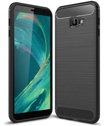 Samsung Galaxy J4 Plus Geborsteld TPU Hoesje Zwart