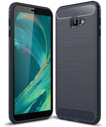 Samsung Galaxy J4 Plus Geborsteld TPU Hoesje Blauw Hoesjes