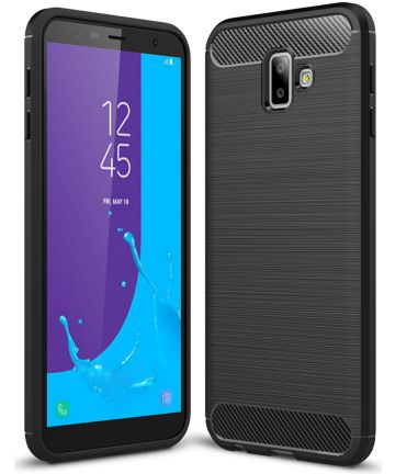 Samsung Galaxy J6 Plus Geborsteld TPU Hoesje Zwart Hoesjes