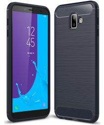 Samsung Galaxy J6 Plus Geborsteld TPU Hoesje Blauw