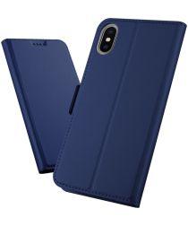 Apple iPhone XS Max Luxe Portemonnee Hoesje Blauw