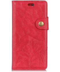 Alcatel 1 Crazy Horse Wallet Stand Hoesje Rood