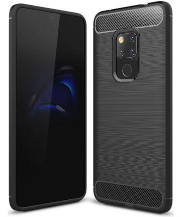 Huawei Mate 20 Geborsteld TPU Hoesje Zwart Hoesjes