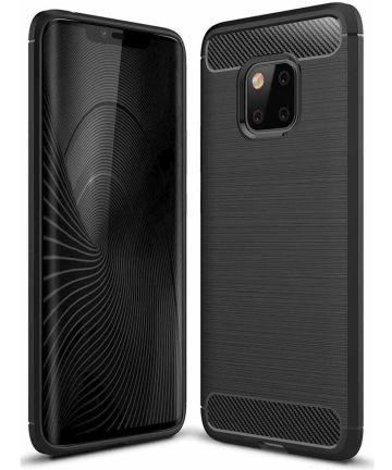 Huawei Mate 20 Pro Geborsteld TPU Hoesje Zwart Hoesjes