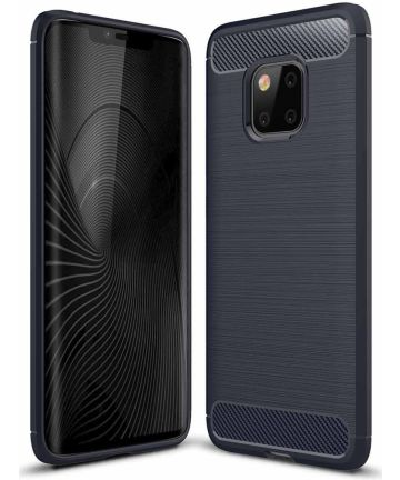 Huawei Mate 20 Pro Geborsteld TPU Hoesje Blauw Hoesjes