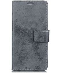 Samsung Galaxy J6 Plus Vintage Wallet Case Hoesje Grijs