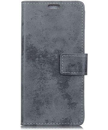 Samsung Galaxy J6 Plus Vintage Wallet Case Hoesje Grijs Hoesjes