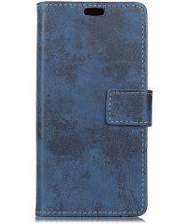 Samsung Galaxy J6 Plus Vintage Wallet Case Hoesje Blauw