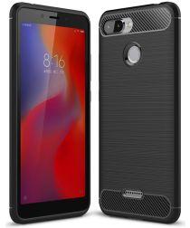 Xiaomi Redmi 6 Geborsteld TPU Hoesje Zwart