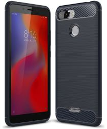 Xiaomi Redmi 6 Geborsteld TPU Hoesje Blauw