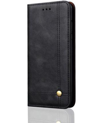 Xiaomi Redmi 6 Retro Style Wallet Flip Case Zwart
