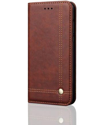 Xiaomi Redmi 6 Retro Style Wallet Flip Case Bruin Hoesjes