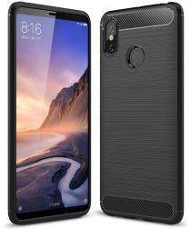 Xiaomi Mi Max 3 Geborsteld TPU Hoesje Zwart