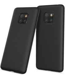 Huawei Mate 20 Pro Twill Slim Texture Back Cover Zwart