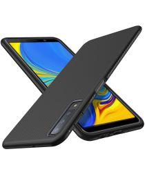 Samsung Galaxy A7 2018 Twill Slim Texture Back Cover Zwart