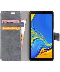 Samsung Galaxy A7 (2018) Retro Portemonnee Hoesje Grijs