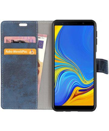 Samsung Galaxy A7 (2018) Retro Portemonnee Hoesje Blauw