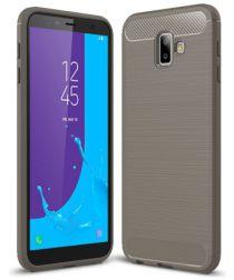 Samsung Galaxy J6 Plus Geborsteld TPU Hoesje Grijs