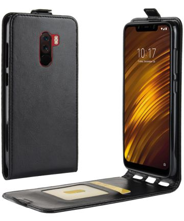 Xiaomi Pocophone F1 Verticaal Flip Hoesje Zwart Hoesjes