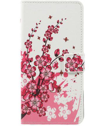 Samsung Galaxy A7 2018 Portemonnee Hoesje met Blossom Print
