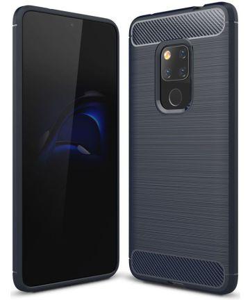 Huawei Mate 20 Geborsteld TPU Hoesje Blauw Hoesjes